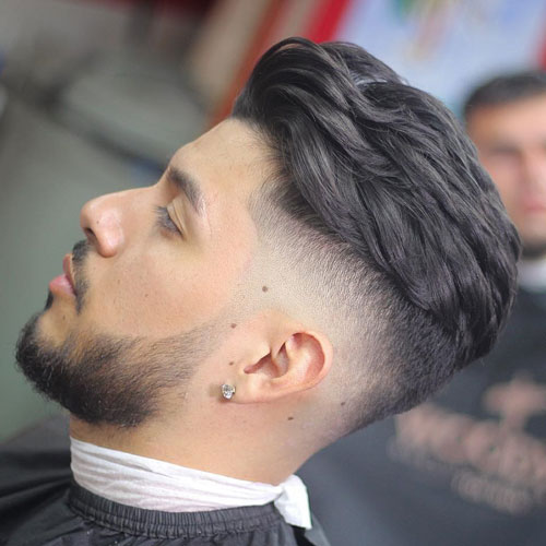 Brushed-Back-Hair-High-Bald-Fade-Beard